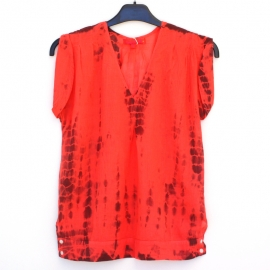 Top Femme Sans Manches Tie and Dye Shibori Rouge Bordeaux