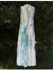 Robe Longue En Coton Tie and Dye Shibori Bleu Orage et Blanc