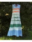 Robe Longue En Coton Tie and Dye Rayures bleues vertes rouges