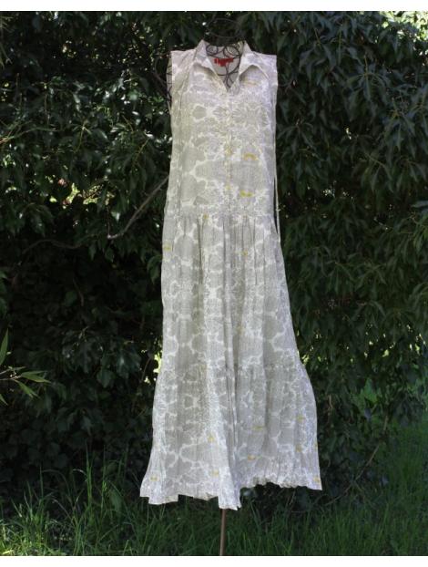 Robe Longue En Coton Imprimé Oiseaux Jaunes