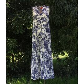 Robe Longue En Coton Imprimé Toile De Jouy Blue Black