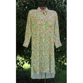 Robe Chemise Coton Imprimé Mini Fleurs Vert et Orange