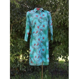 Robe Chemise Vert Emeraude Grandes Fleurs