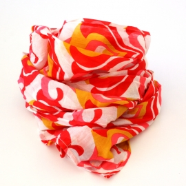 Foulards Coton Imprimé rouge rose ocre
