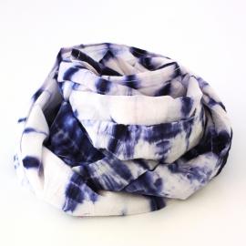 Foulard Coton Tie And Dye Bleu Nuit et Blanc