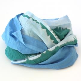 Foulard Coton Tie And Dye Rayures bleu vert rouge
