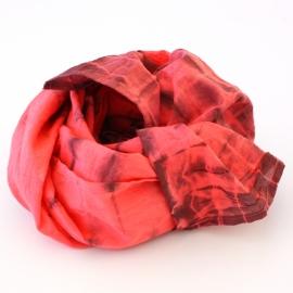 Foulard Coton Tie And Dye rouge bordeaux
