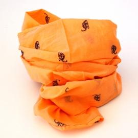 Foulards Coton Imprimé Orange dinosaures