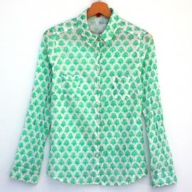 Chemise femme coton imprimé petites fleurs bleues et vertes