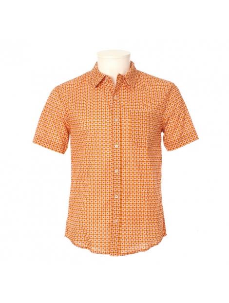 Chemise Homme Manches Courtes Imprimé Géométrique Vintage Orange et  Marron