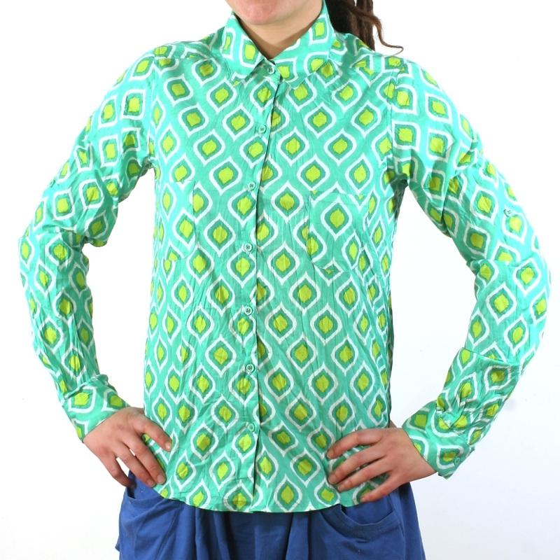 chemise femme coton imprim lagon vert. Black Bedroom Furniture Sets. Home Design Ideas