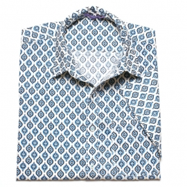 Chemise Homme Manches Courtes blanche Imprimé motifs bleus