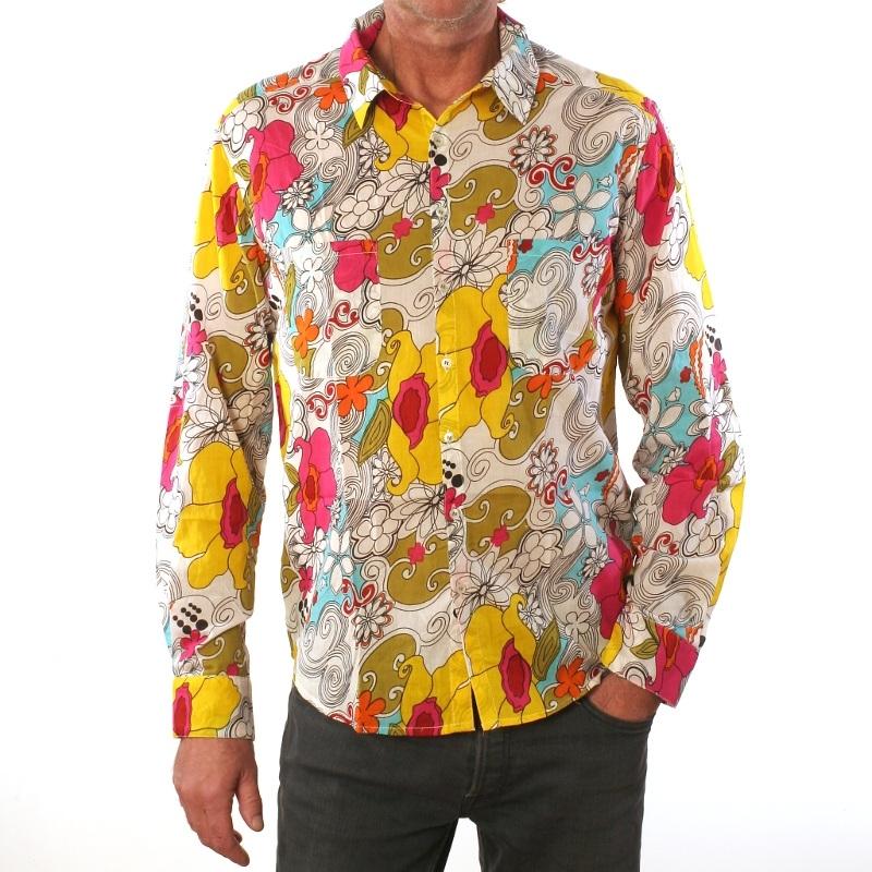 chemise homme coton manches longues coupe droite imprim power. Black Bedroom Furniture Sets. Home Design Ideas