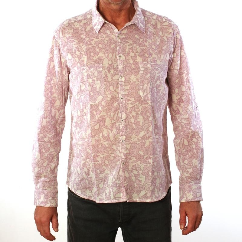 chemise homme coton manches longues coupe droite imprim filigrane. Black Bedroom Furniture Sets. Home Design Ideas